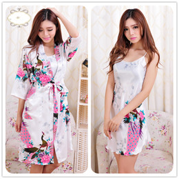 Silk kimono Set online shopping - 2017 summer Women Sexy Rayon Silk Robe Sleepwear Lingerie Nightdress Pajamas Satin Kimono Gown pjs bathrobe female dress set