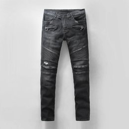 Barato Desinger Homens Casaco-Novo Skinny Slim Fit Washed Revestimento material Denim Elastic Motocicleta Mens Bal-Jeans Desinger Single BM5011-5051 Top qualidade Men jeans