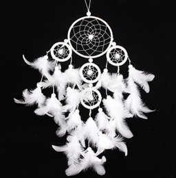 Decor Ornament Canada - Handmade DreamCatcher Indian Dream Catcher Circular Net With Feathers Wall Hanging Decoration Decor Ornament Craft B950L