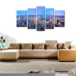 Discount night scenery painting - 5 Panels Wall Art Canvas Painting Hongkong Scenery at Night with Wooden Framed Print on Canvas For Home office Decoratio