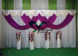 Vente en gros 1 Set Rideau Drapé de mariage blanc et violet Drapé Swag de couleur avec le Stand de fond \ Stent Pipe