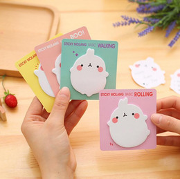 Wholesale Molang Rabbit Self Adhesive Memo Pad Sticky Notes Sticker Label Escolar Papelaria School Office Supply