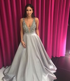 Barato Vestidos De Bola De Prata Sexy-Silver Prom Dress 2017 Sexy Plus Size Ball Deep V Neck Backless Long Prom Dresses Formal Evening Gowns Vestidos