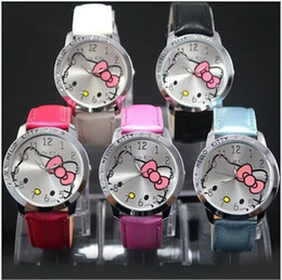 Discount made toys china - Luxury Crystal Diamond KITTY Cat Fashion Kids Wristwatches China Made Leather Strap Quartz Watches children Birthday Chr