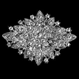 Discount gold diamante flower brooch - Wholesale- Dark Silver Plated Clear Rhinestone Crystal Diamante Large Flower Vintage Bouquet Brooch