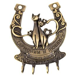 hooks for keys Australia - Wholesale- Clothes Key hook for keys Door Wall Hook Hanger handbag Keys Bathroom Kitchen Holder.Russian wedding decor of Cat design