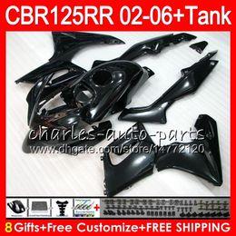 Cbr125 Fairing Australia - 23Colors Body +Tank For HONDA glossy black CBR125 R CBR 125R 125RR CBR125R 02 03 04 05 06 80NO48 CBR125RR 2002 2003 2004 2005 2006 Fairing