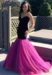 Barato Vestido De Veludo Roxo Longo-Sweetheart Velvet Purple Mermaid Prom Dresses Vestido de vestidos sem mangas Sweep Train Vestido De Festa Long Vestido formal