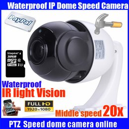 ptz ip camera sd card UK - Freeship CCTV 1080P 2MP 20X optical zoom outdoor middle speed onvif PTZ dome camera network IP dome ptz camera with 32GB SD card