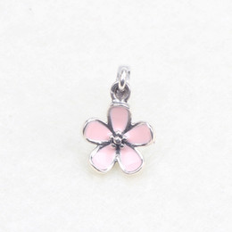 pink cherry blossom Canada - Pink Enamel Cherry Blossom Dangle Charms Bead 925 Sterling Silver Jewelry Pendant Flowers Beads For DIY Charm Bracelet Jewelry Making
