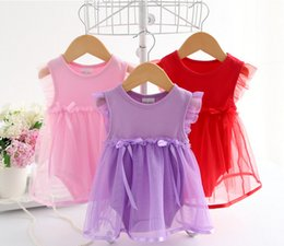 Discount french kids clothes - Summer Cotton Bow New Born Baby Dress Fashion Baby Rompers For girls Summer Kids Infant Clothes Baby Girls Jumpsuit LC45