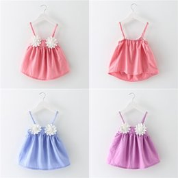 Robe Solide Pour Applique Pas Cher-Sun Flower Dresses Baby Girls Suspenders Robe 100% coton jupe courte Kids Solid Color Tops Tees 2017 Summer Children Clothing DHL 72