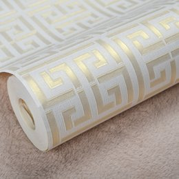 Chinese  Contemporary Modern Geometric Wallpaper Neutral Greek Key Design Vinyl PVC Wall Paper for Bedroom 0.53m x 10m Roll Gold on White manufacturers