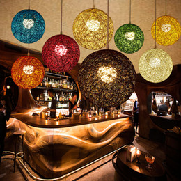 lighting fields Canada - New Creative Personality Colorful Pendant Lamps Restaurant Bar Cafe Lamps Rattan Field Pasta Ball E27 Pendant light