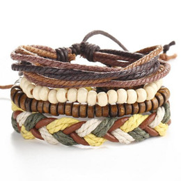 Friendship Bracelet Links Canada - Retro Vintage Folk-custom Jewelry Accessories Weave Leather Handmade Beaded Multilayer Charm Bangles Wristbands Lovers Friendship Bracelets
