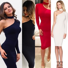Barato Estilo Vestido Rua Longa-Street Style Dresses Bodycon Bandage Nightclub Dress Design criativo One-shoulder Long Sleeve Slim Ladies Top Fashion