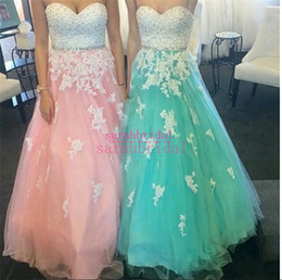 Barato Menta Vestido De Baile Querida-Tulle Prom Dresses For Teenager Girls 2017 Long Lace Hot Sale Cheap Sweetheart 12y Beaded Pink Mint Plus Size Formal Evening Gown Vestidos