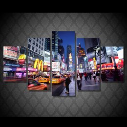 $enCountryForm.capitalKeyWord Canada - 5 Pcs Set Framed HD Printed New York City Night Picture Wall Art Canvas Print Decor Poster Canvas Oil Painting