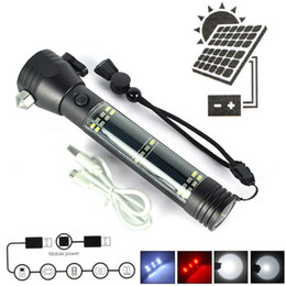 Flashlight saFety online shopping - Multi functional LED Solar Flashlight USB Rechargeable Portable Torch Lights with Warning Light Cutting Knife Safety Hammer Magnet Compass