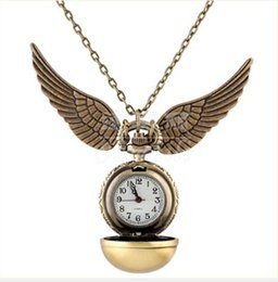 harry glasses UK - Harry Silver Snitch Ball Pocket Watch Necklace Chain Pendant Potter Wings Smooth Quartz Watch pocket Gifts Wholesale