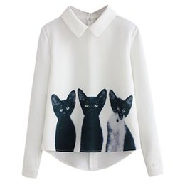 Cat S Collar Canada - New 2016 Fashion Cute 3 Cats Print Women Casual Long Sleeve Blouse Collared Loose White Blouse