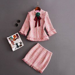 Tweeds Vêtements Pas Cher-2017 Automne Femmes Deux pièces Ensembles Régulier Empire Mode Tweed Brand Style Robes Long Sleeve Crew Neck Bow Haute taille Women Clothes LI