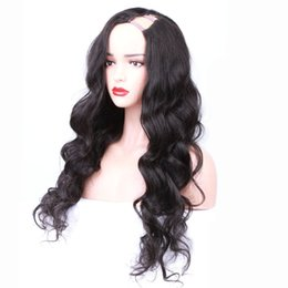 brazilian virgin hair u part wigs UK - Hotsale!Fashion body wavy high density 130%-150% brazilian virgin human hair u part wigs with combs free shipping