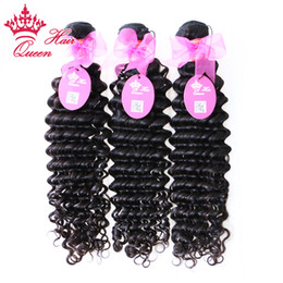 queen hair virgin brazilian loose 2019 - Queen Hair 100% Virgin brazilian hair steamed deep wave machine weft 3pcs lot DHL free shipping 12-28inches available wh