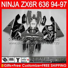 $enCountryForm.capitalKeyWord Australia - 8Gifts 23Colors For KAWASAKI NINJA ZX6R 94 95 96 97 600CC ZX-6R grey black 33NO74 ZX636 ZX 636 ZX 6R ZX600 1994 1995 1996 1997 Fairing kit