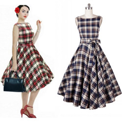 Robe De Balle Rockabilly Pas Cher-En Stock Cheap 2017 Hot Sell Audrey Hepburn 1950 Rockabilly Robes Casual Ball Gown Vintage Plaid Style Slim Knee Longueur Femmes Robes