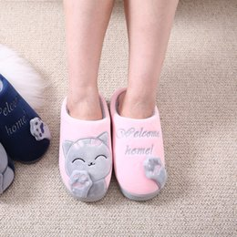 Zapatos Calientes Y Suaves Baratos-Soft Cat Cartoon Home Shoes niñas Antideslizante Invierno Plush Warm Slippers Dormitorio interior Loves Couple Floor Shoes Mujeres Alta calidad