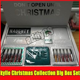 Cajas De Sombras Baratos-Navidad Kylie lip gloss box Holiday Edition Bundle QUIERO TODO Makeup set NICE y NAUGHTY Eyeshadow Palette kylie holiday edition