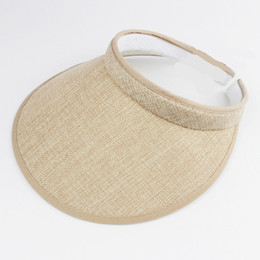 Wide Visor For Women Canada - Fashion Linen Clip-On Empty Top Sun Visor Hat Summer Imitation Linen Cap Wide Brim Sun Protection Hats For Men And Women