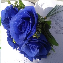 White Rose Arrangements Canada - Blue rose 6pieces per bouquets cream white 11inch tall 6.3 wide blossom perfect for wedding arrangement home decorations or brooch design