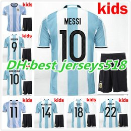 1ba7a53cf42 online shopping best quality New Argentina Kids kit soccer Jersey MESSI  home DI MARIA AGUERO Argentina