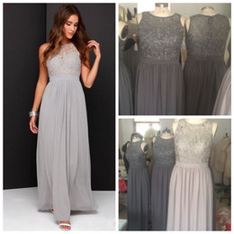 Grey Green bridesmaid dress online shopping - Real Photos Country Grey Bridesmaid Dresses for Wedding Long Chiffon A Line Backless Formal Dresses Party Lace Modest Maid Of Honor Dress