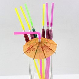 Straw Umbrella NZ - 100PCS 3D Paper Umbrella Cocktail Drinking Straws Novelty Party Bar Decorations Christmas holiday party supplies