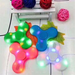 $enCountryForm.capitalKeyWord Australia - 2017 Fidget Led Bluetooth Music Fidget Spinner Glow Spinning Finger HandSpinner EDC Light up Tri Spinner Hand Spinner EDC Toy Wholesale