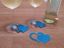 New Arrival 50pcs lot Glitter heart-to-heart wine glass ring charms wedding  engagement bridal shower Bachelorette Party table decors cards 51502a2e385d