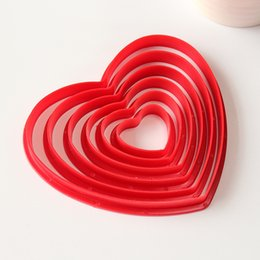 Pastry Cutters Australia - 6pcs set Love Heart Plastic Cookie Cutter Cake Mould Tool Kitchen Tool Sugar Paste Baking Mould Cookie Pastry