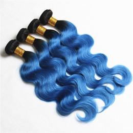$enCountryForm.capitalKeyWord Canada - New Color Ombre #1B Blue Body Wave Hair Extensions Dark Root #1B Blue Brazilan Virgin Human Hair Bundles 4Pcs Lot