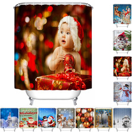 Wholesale- Shower Curtains Christmas Waterproof Polyester Bathroom Shower Curtain Decor With Hooks New u61017