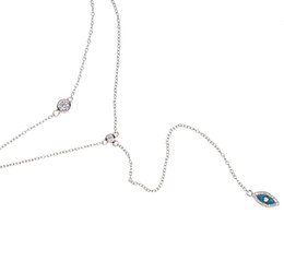 rhodium plated cz 2018 - 2017 factory fine 925 sterling silver rose gold rhodium Bling sparking cz evil eye lariat choker double layer delicate s