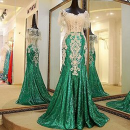 Robes De Soirée Paillettes Vertes Pas Cher-Dark Green Robes de soiree Crystal Mermaid Prom Gowns Longs Formal Party Dress Sequins Lace Vestidos Longo Robe De Soiree