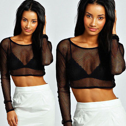 fishnet tops wholesale Canada - Wholesale- Womens Crop Top Ladies All Mesh Lace Fishnet Long Sleeve Stretch Vest T Shirt