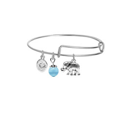 Crystal Sister UK - 2017 new blue crystal bead expandable wire bracelet silver elephant bracelet women bangle animals communion gifts for sister or daughter