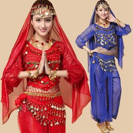 Red Indian Costumes Australia - 2016 Women Dancing Clothing 4Piece Bellydance Costumes Bollywood Indian Competition Belly Dancewear Belli Dancer Plus Size