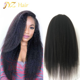 Afro kinky lAce wigs online shopping - JYZ Glueless Kinky Straight Full Lace Wig Afro Lace Front Wigs With Natural Hair Line Bleached Knots Baby Hair Curly Wigs