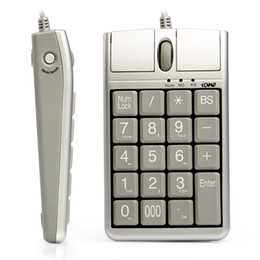 2 in 1 Tastiere USB per mouse ottico iOne Scorpius N4, 19 tastierino numerico cablato con rotella di scorrimento mouse per inserimento dati rapido Tastiera USB mouse in Offerta