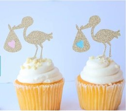 $enCountryForm.capitalKeyWord NZ - custom 30pcs glitter storks Party Treat Picks   Cupcake Toppers Baby Shower Gender Reveal cupcake party decorations toppers Event